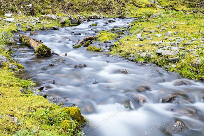 beautiful landscape in the forest, streams by slow shutter shooting