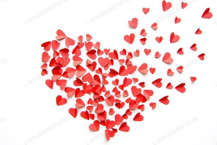 Big heart sign made from red hearts isolated on white. Valentines day concept