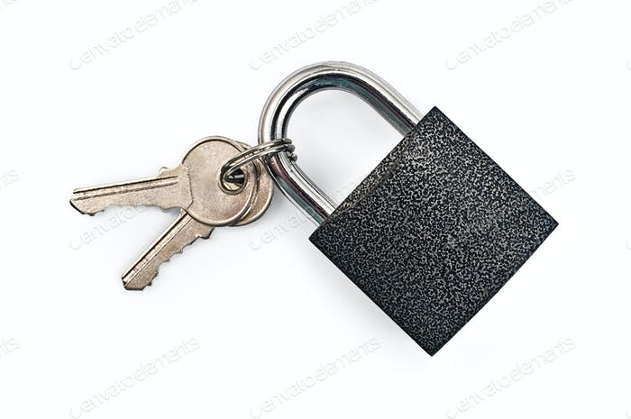 Black padlock with keys