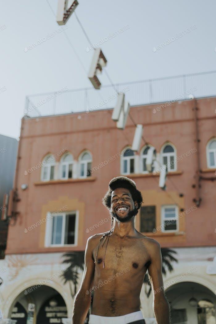 Shirtless man at Venice Beach