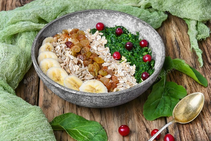 detox breakfast of oatmeal.buddha bowls