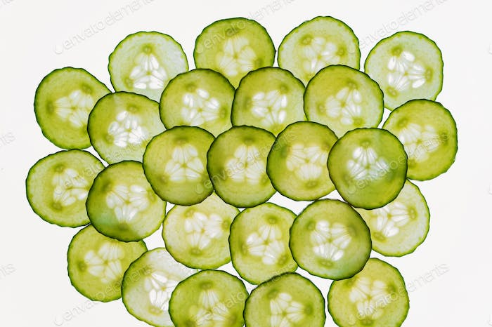 Fresh vegetables slices abstract seamless pattern background, cucumber