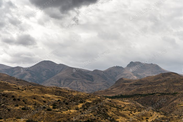 Clouds over the mountains and hills of Armenia