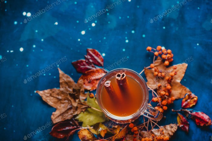 Tea cup with anise stars and cinnamon on a wet autumn background with fallen leaves and berries