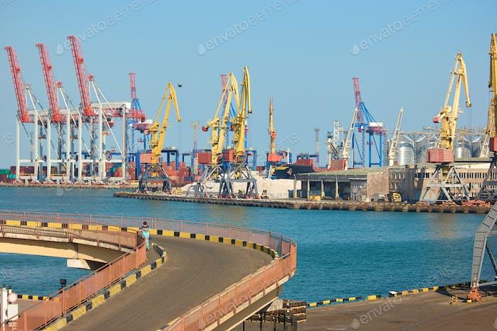 Sea port cranes.
