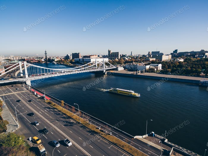 Aerial view of the Crimean (Krymsky) bridge on Moscow river in Moscow city, Russia