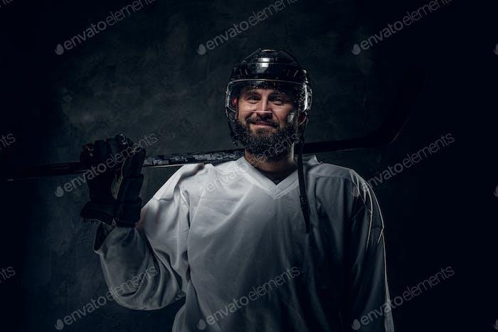 Portrait of powerful hockey player