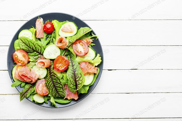 Seafood fish salad with vegetables