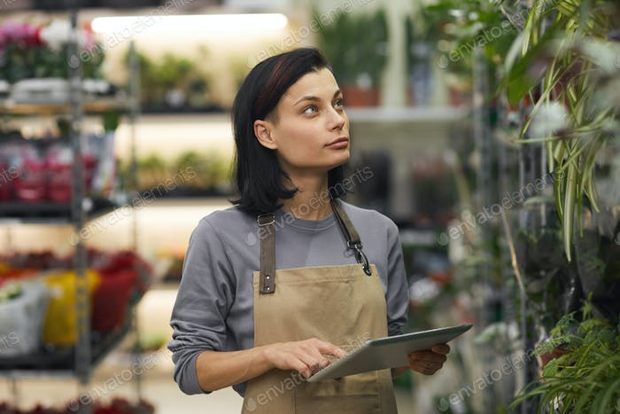 Young Woman Using Tablet in Flower Shop