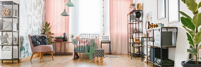 Girl room with metal furniture