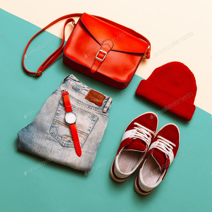 Stylish accessories and clothing. Focus on red. Handbags, caps,