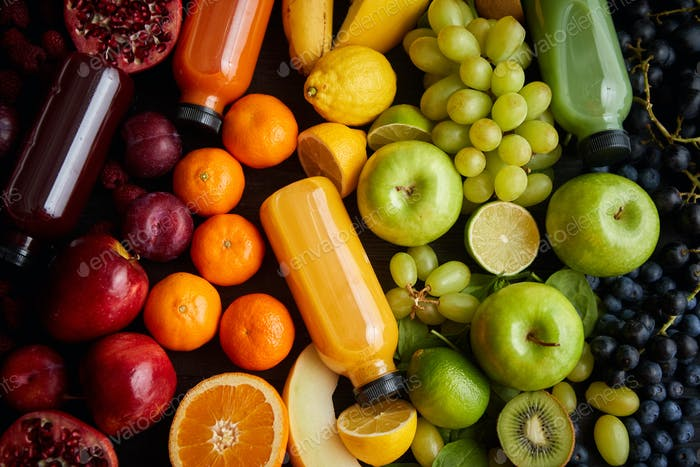 Various healthy fruits and vegetables formed in rainbow composition