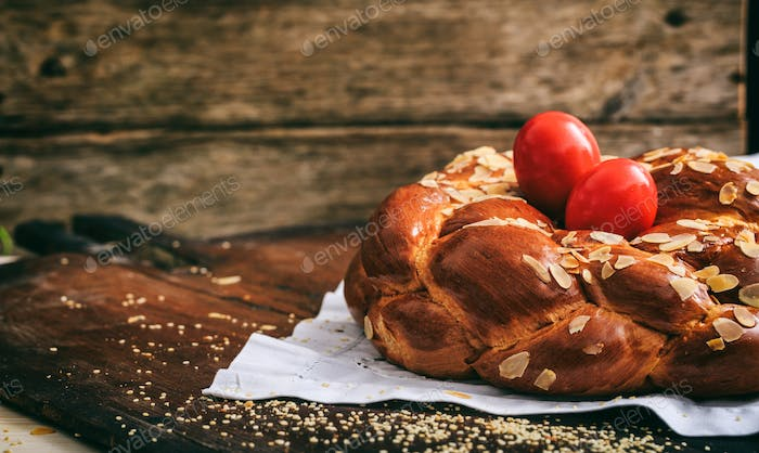 Easter bread and eggs on a table - copy space