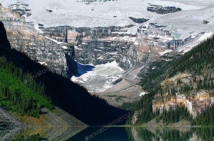 Mountains from Lake Louise mountain lake
