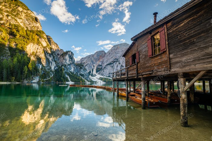 Lake Braies Pragser Wildsee in Dolomites at sunset, Sudtirol, Italy.