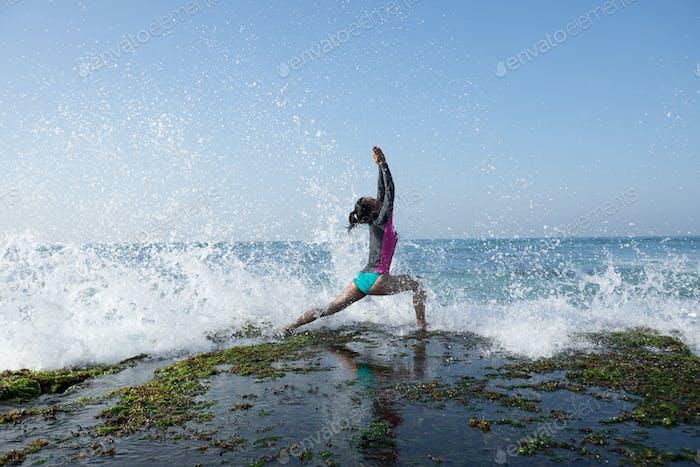Yoga on seaside