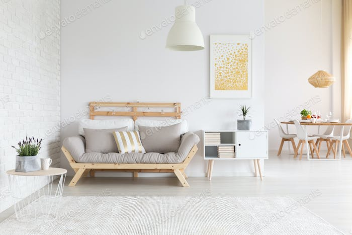 White brick wall in apartment