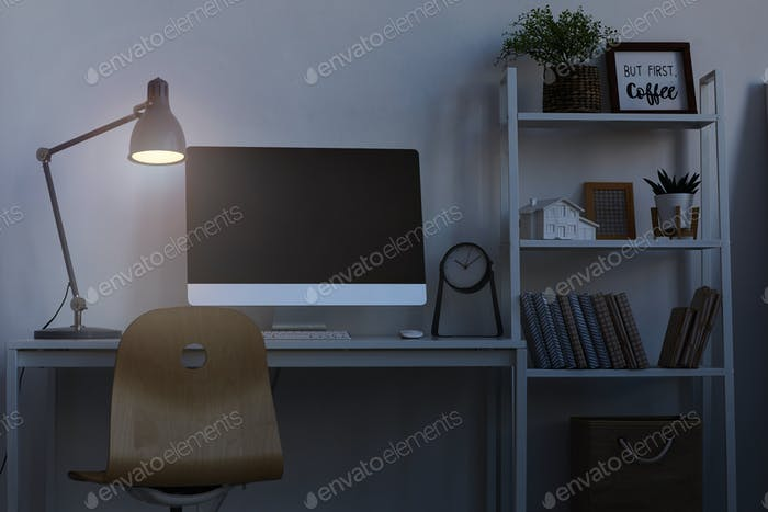 Home Office Workplace at Nigh