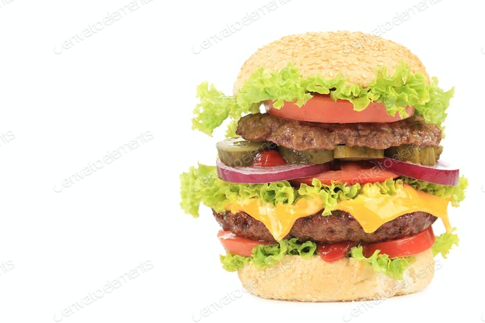Big appetizing hamburger.