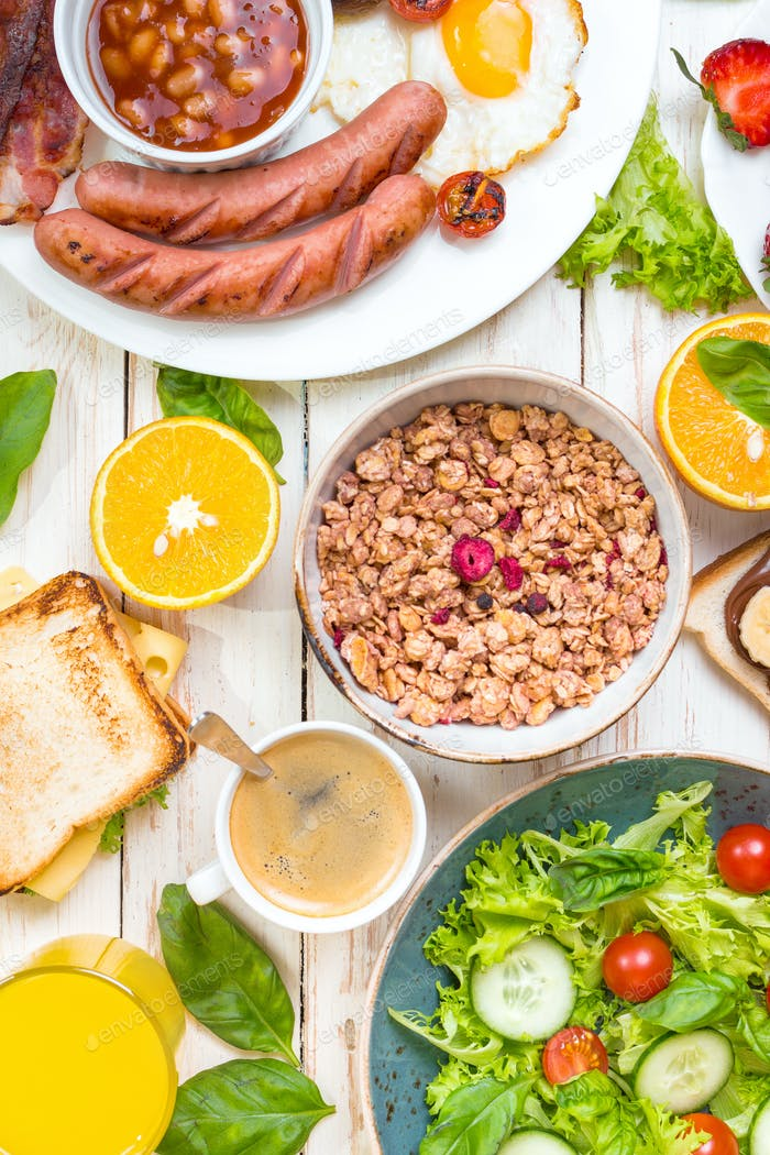 Different types of breakfast or brunch