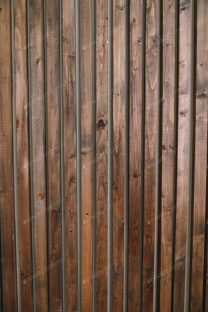 Brown wooden planks interior. Natural wall decoration background