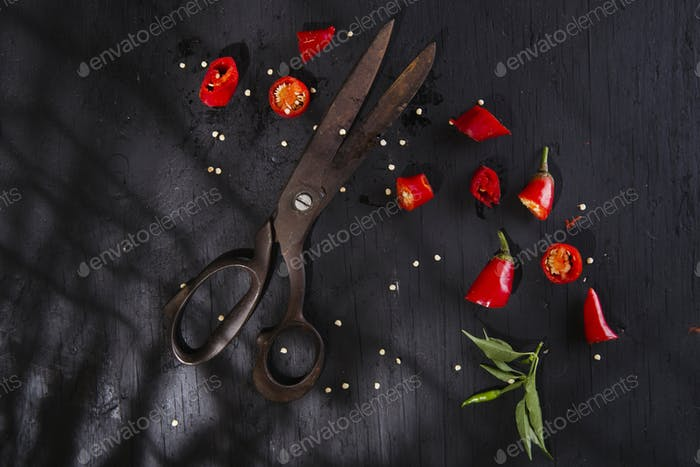 Cut the red pepper