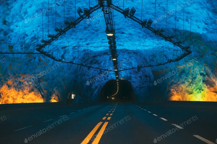 Laerdal Tunnel, Norway. Road On Illuminated Tunnel In Norwegian