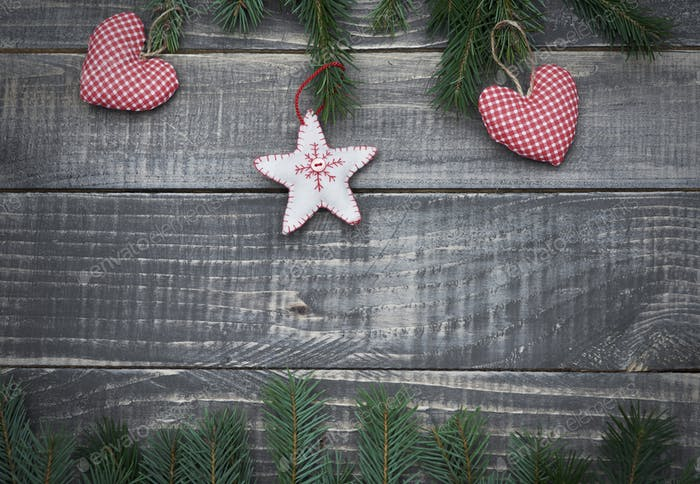 Christmas ornament on the wooden table