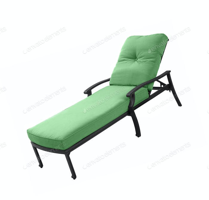 Soft green lounger isolated on white