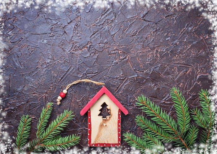 Weihnachten Hintergrund mit Holz Vogelhaus