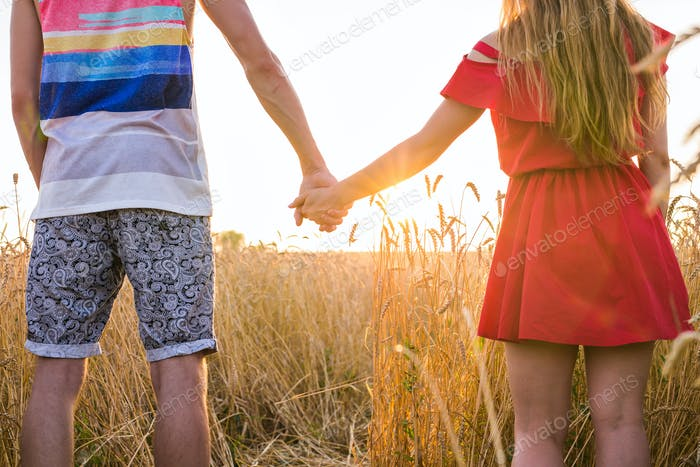 Young couple holding hands in the wheat field on sunny summer day, back view close-up