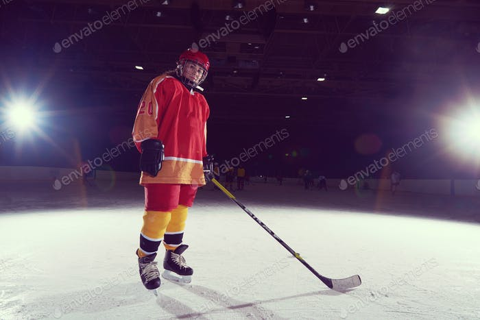 teen girl  ice hockey player portrait