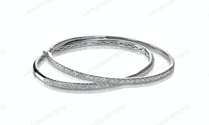 Set of diamond channel set bangle bracelets silver or white gold