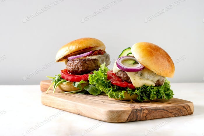 Homemade hamburgers with beef