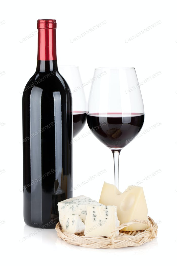 Various types of cheeses and red wine