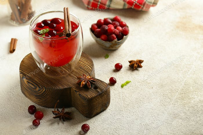 Tea in a Glass with Cranberries