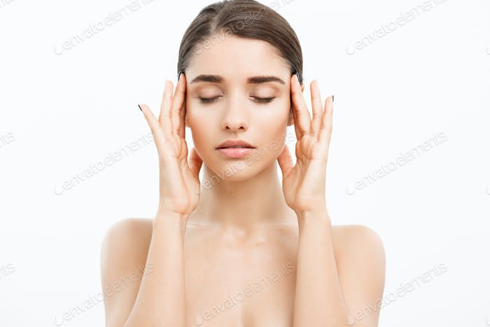 Beauty Skin Care Concept - Beautiful Caucasian Woman Face Portrait. Beautiful beauty young female
