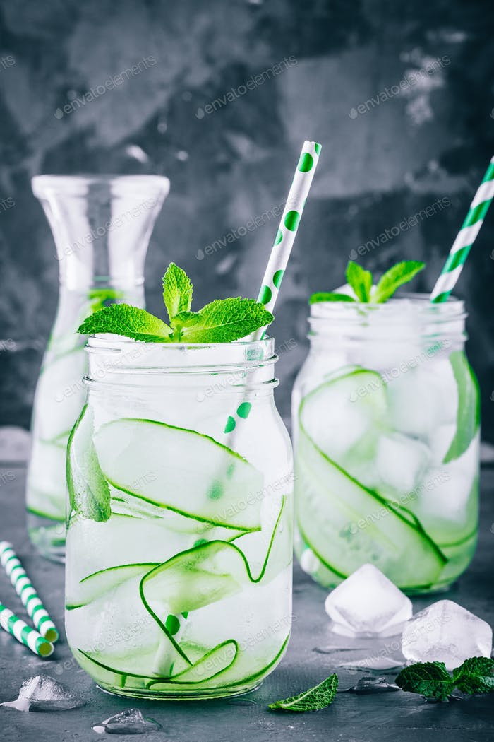Thumbnail for Ice cold and refreshing detox water cucumber and mint