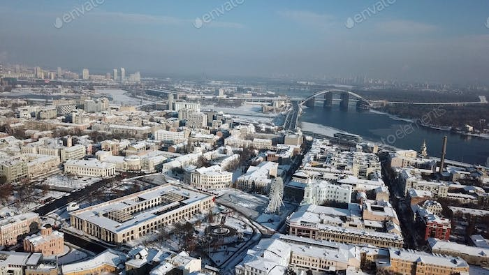 Aerial drone footage. Panorama of podil in kiev