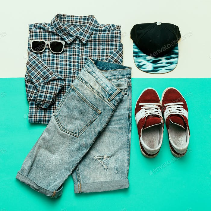 Urban clothing set. Plaid shirt, jeans, sneakers Skateboard styl