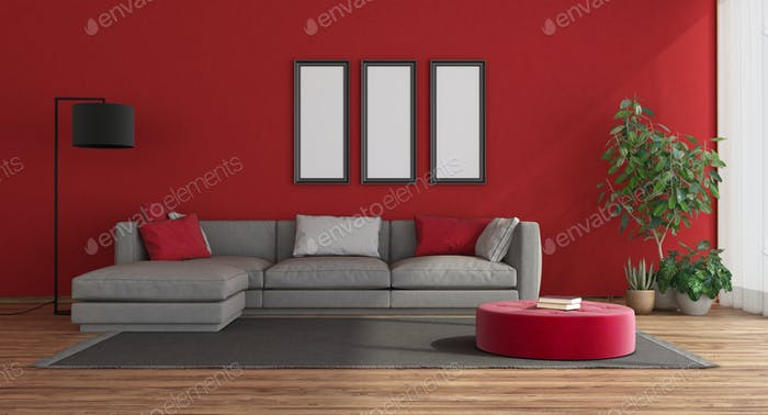 Red modern livng room with gray sofa