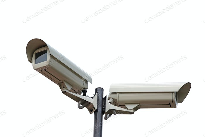 Two security cameras camera on white background