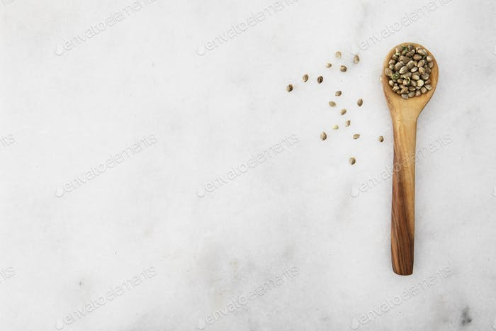 Cannabis Seeds in Spoon Flat Lay