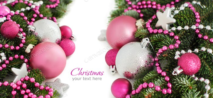Thumbnail for Silver and pink Christmas ornaments border