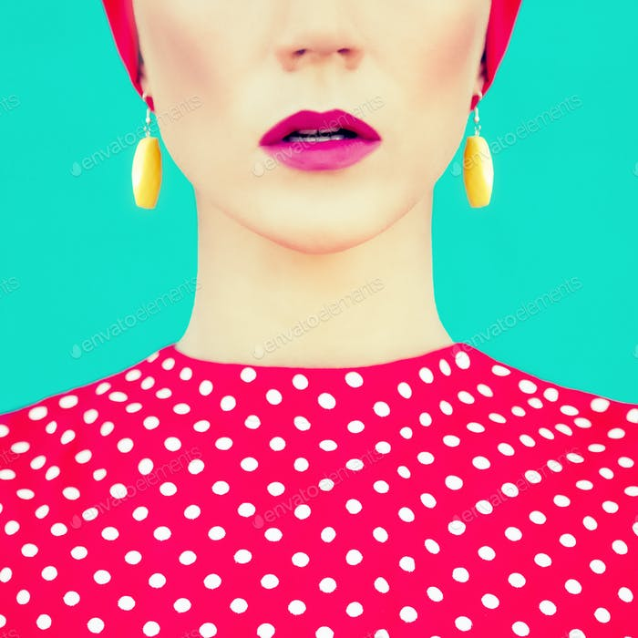 close-up portrait of retro girl on the blue background