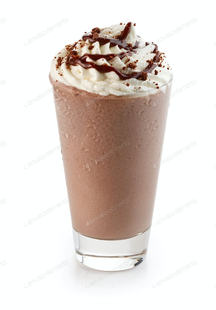 glass of chocolate milkshake