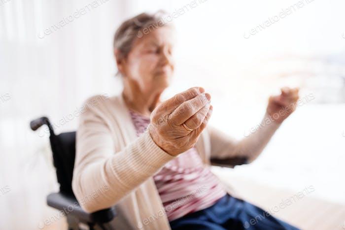 Senior woman in wheelchair at home.