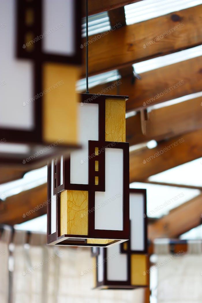 Modern hanging lamp in hotel