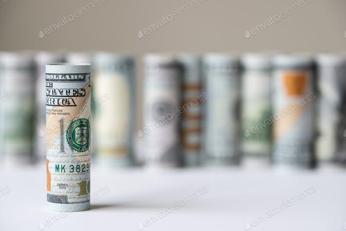 Roll of US dollar bill