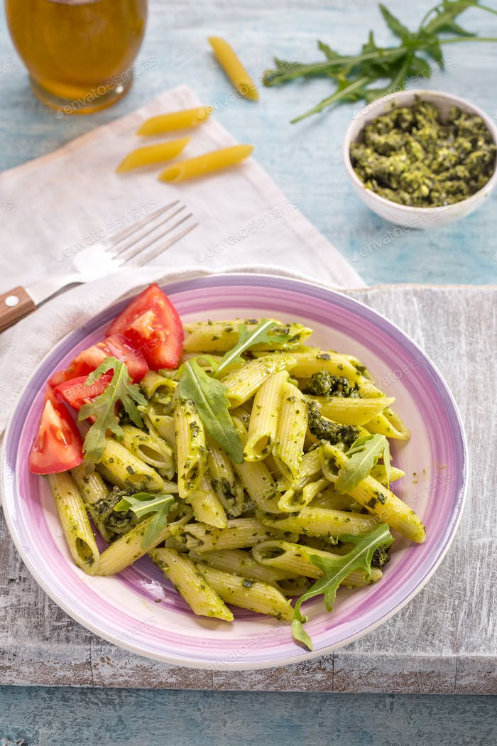 Penne pasta with pesto